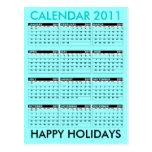 Calendar 2011 Happy Holidays Postcard Blue