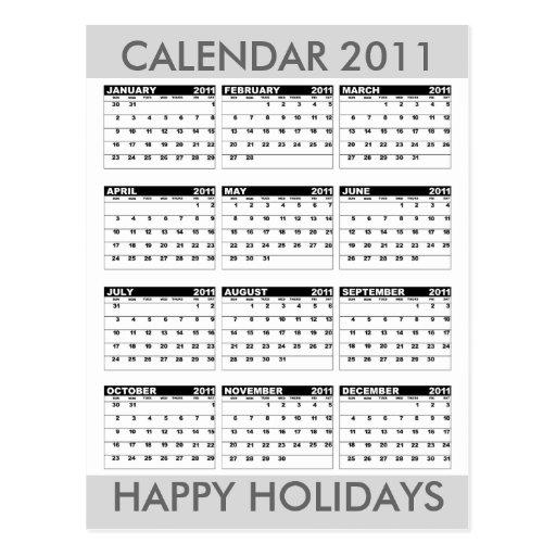 Calendar 2011 Happy Holidays Postcard Grey