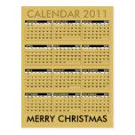 Calendar 2011 Merry Christmas Postcard Gold