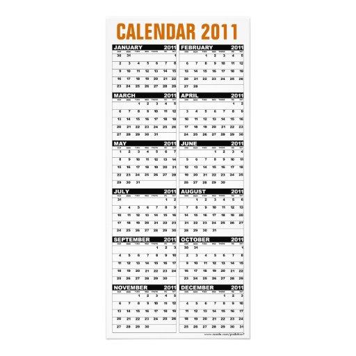 Calendar 2011 Rack Card Happy Thanksgiving Turkey