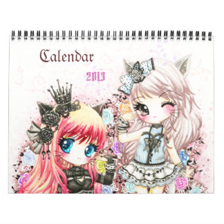 Calendar 2013 - Beautiful anime chibi illustration
