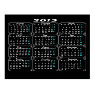Calendar 2013 Black Postcard