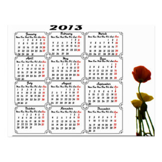 Calendar 2013 with Flowers Post Cards