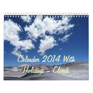 Calendar 2014 With Holidays - Clouds