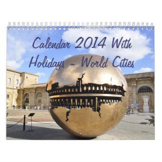 Calendar 2014 With Holidays - World Cities