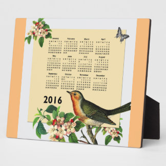 Calendar 2016 with bird plaque