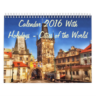 Calendar 2016 With Holidays - Cities of the World