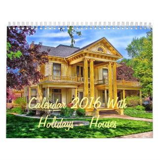 Calendar 2016 With Holidays - Houses