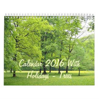 Calendar 2016 With Holidays - Trees