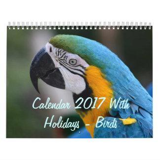 Calendar 2017 With Holidays - Birds