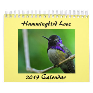 "Calendar 2019 Hummingbird Love, Two Page 5.5"" x 7"""