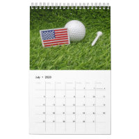 Calendar 2020  for golfer with golf ball on green