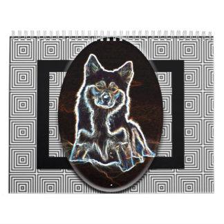 Calendar Artistic Icelandic Sheepdog Black N White