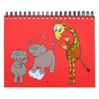 "CALENDAR ""cartoon art"" funny jungle"