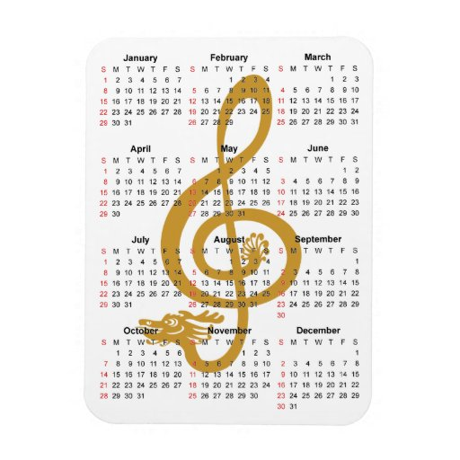 Calendar Dragon treble clef blue peonies Premium M Vinyl Magnets