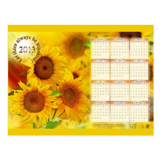 Calendar for 2013 with Sunflowers Post Card