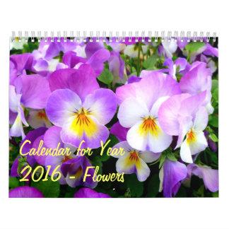 Calendar for Year 2016 - Flowers