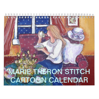 Calendar made with stitch cartoons by Marie Theron