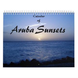 Calendar of Aruba Sunsets