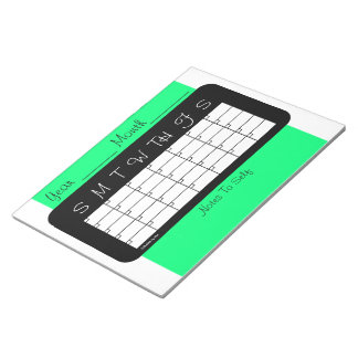 Calendar of the Month Spring Green Notepad