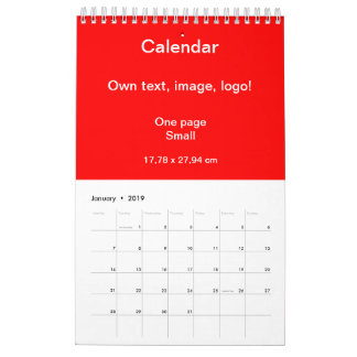 Calendar One Page Small uni Red