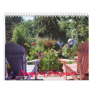 Calendar - Outdoor settings. Gardens, Birds, Field