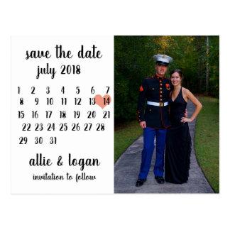 Calendar Photo Save the Date Postcard