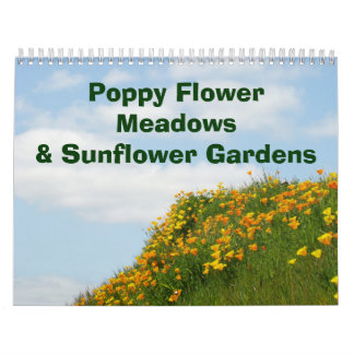 Calendar Poppy Flower Meadows Sunflower Gardens