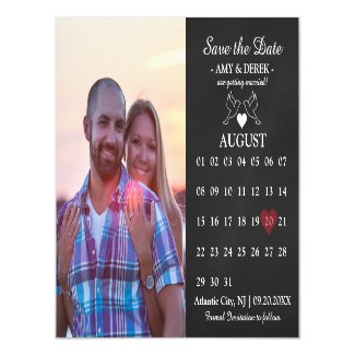 Calendar Save the Date Photo Magnet Card