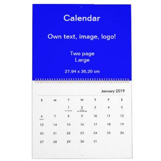 Calendar Two Page Large uni Royal Blue
