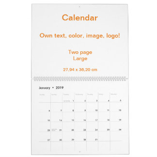 Calendar Two Page Large uni White - own Color