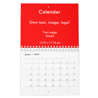 Calendar Two Page Small uni Red