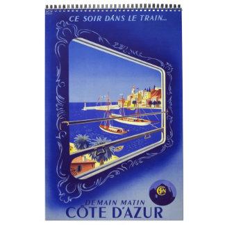 Calendar Vintage Travel 14 Posters Europe plain