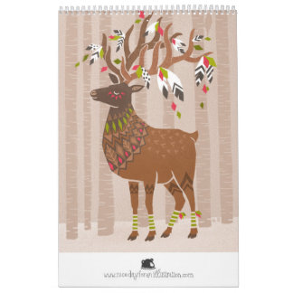 Calendar wild animals multicolored geometrical
