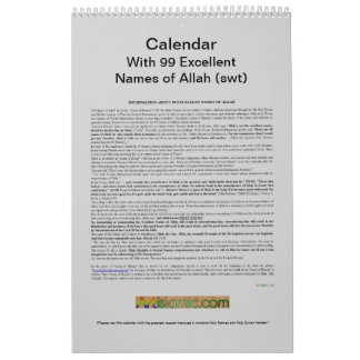 Calendar With 99 Names of Allah (swt) -God-