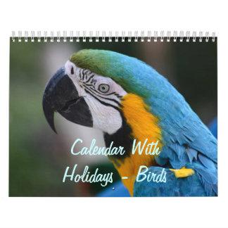 Calendar With Holidays - Birds