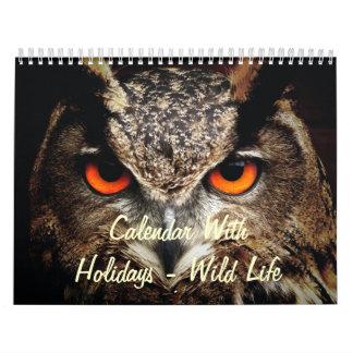 Calendar With Holidays - Wild Life