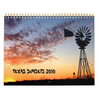 Calendario 2010 de las puestas del sol de Tejas