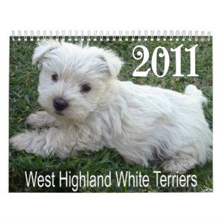 Calendario 2011 de los perritos de Terrier blanco