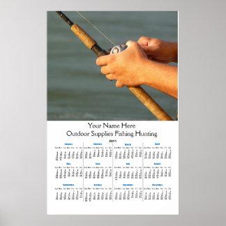 Calendario 2011 de pared de la caña de pescar póster