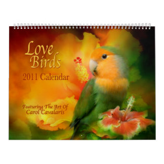 Calendario 2011 del arte de los pájaros del amor