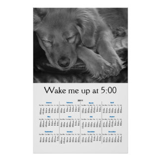 Calendario 2011 del perro B&W el dormir Póster