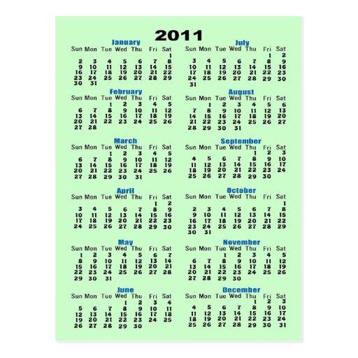 Calendario 2011 postal