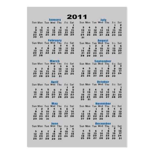 Calendario 2011 tarjetas de visita grandes