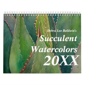 Calendario 2012 de la acuarela de los Succulents