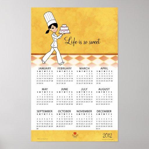 Calendario 2012 de la cocina con arte del cocinero poster