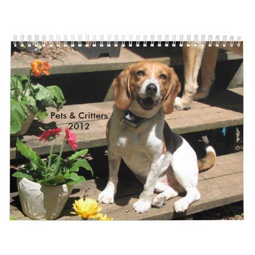 Calendario 2012 de los mascotas y de los Critters