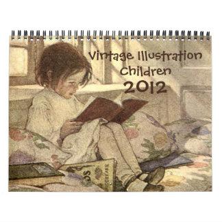 Calendario 2012 de los niños del ejemplo del vinta