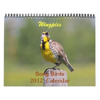 Calendario 2012 de los pájaros de la canción de Wi