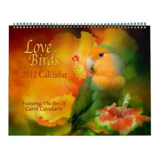 Calendario 2012 del arte de los pájaros del amor